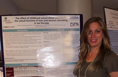 Anne-Julie Lafrenaye-Dugas (étudiante Ph.D.) au congrès international de l'International Family Violence and Child Victimization Research Conference (IFVCVRC) 2016.